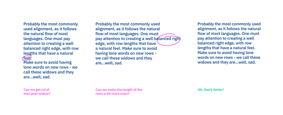 نوع چیدمان متن به صورت چپ چین در تایپوگرافی