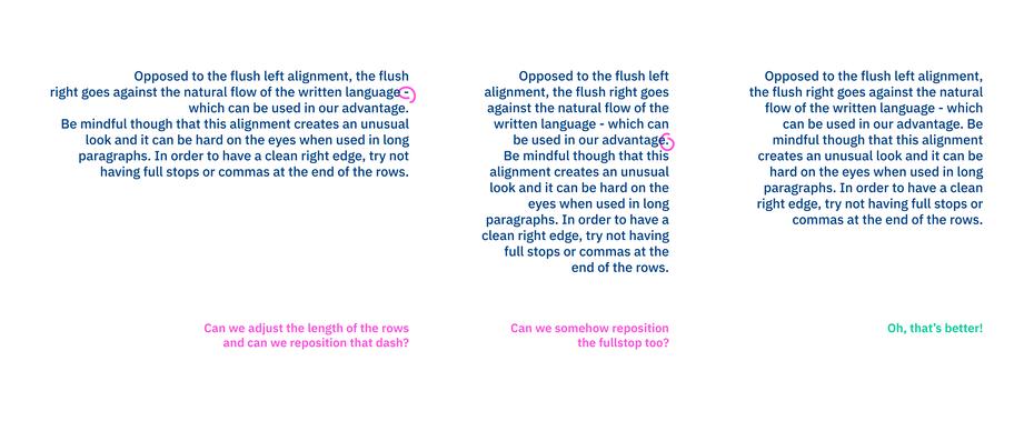 نوع چیدمان متن به صورت راست چین در تایپوگرافی