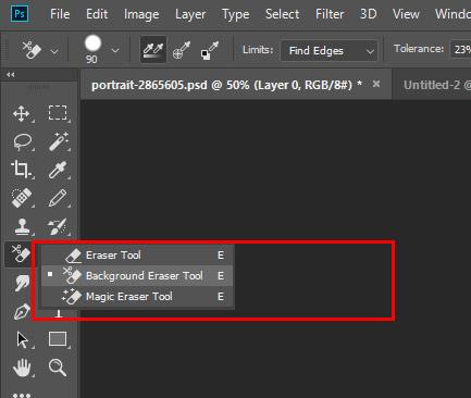 انتخاب ابزار Background Eraser Tool برای حذف پس زمینه عکس