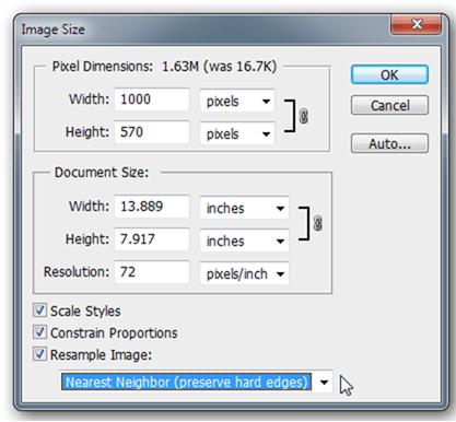 تنظیمات مربوط به Image Size