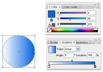 انتخاب رنگ آبی از قسمت Gradient