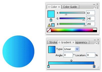 انتخاب رنگ آبی روشن از قسمت Gradient
