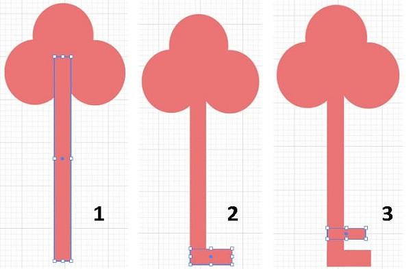 انتخاب ابزار Rectangle و ایجاد شکل کلید