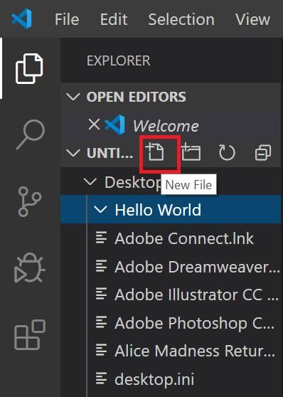 ایجاد فایل در Visual Studio Code