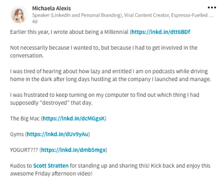 Michaela Alexis در مثال اهرم روابط عمومی