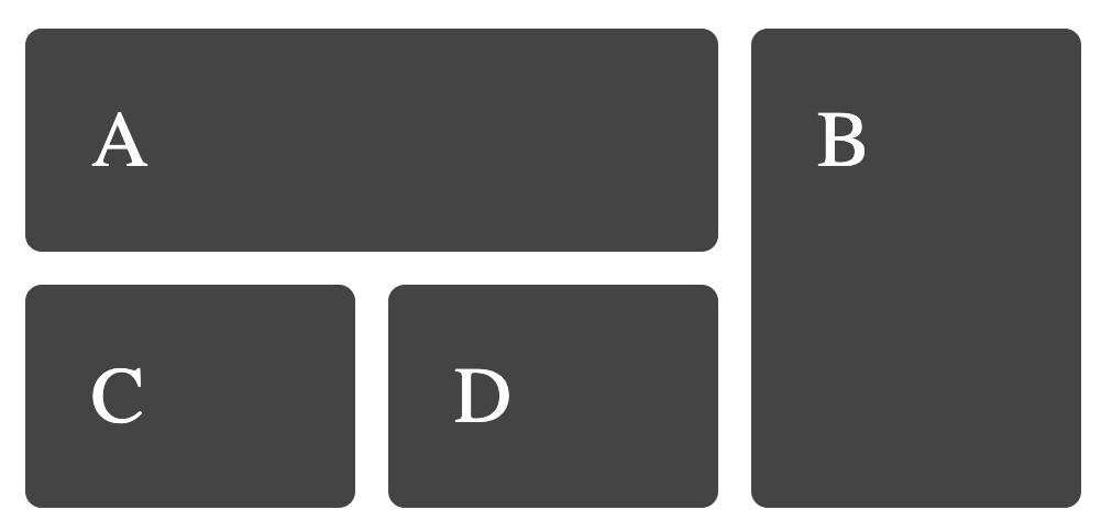 ساخت گرید CSS - نتیجه کد طرح بندی قرارگیری مبتنی بر خط که بیش از یک مسیر گریدی را شامل می شود