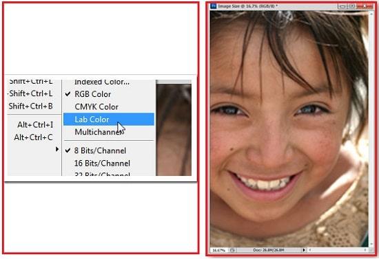 انتخاب گزینه Lab Color از سربرگ  Image
